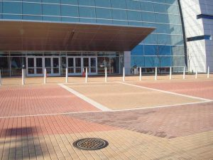 convention center brick paver installation